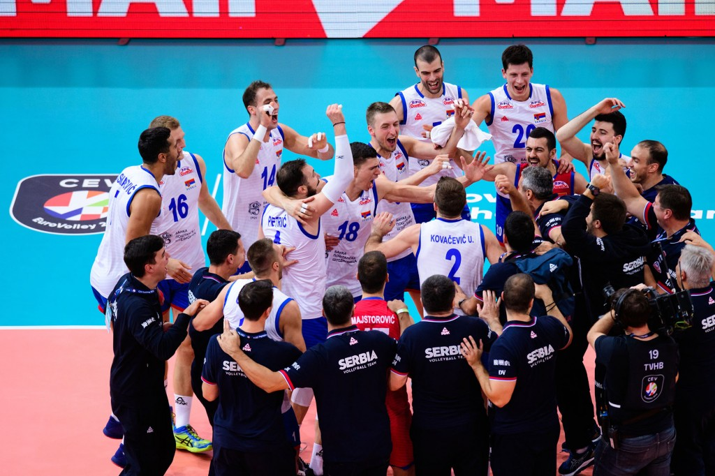28.09.2019, Arcor Hotel Arena, Paris Volleyball, Europameisterschaft, Halbfinale, Frankreich (FRA) vs. Serbien (SRB) Foto: Conny Kurth / www.kurth-media.de