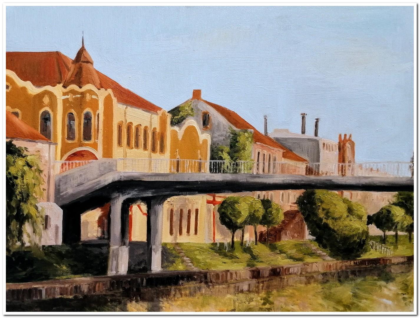 Palata Dundjerski i pesacki most, ulje na platnu, 2020