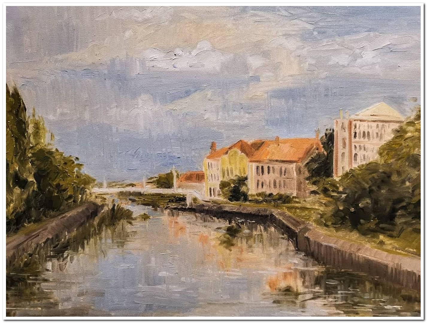 Stara pivara i palata Dundjerski, ulje na platnu, 2020